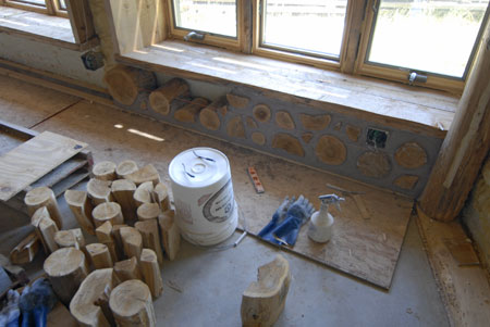 How to begin a cordwood wall.